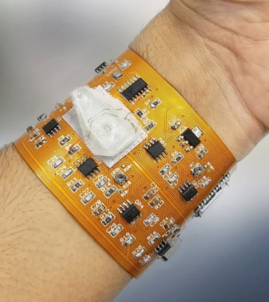 Flex PCB worn on a persons arm